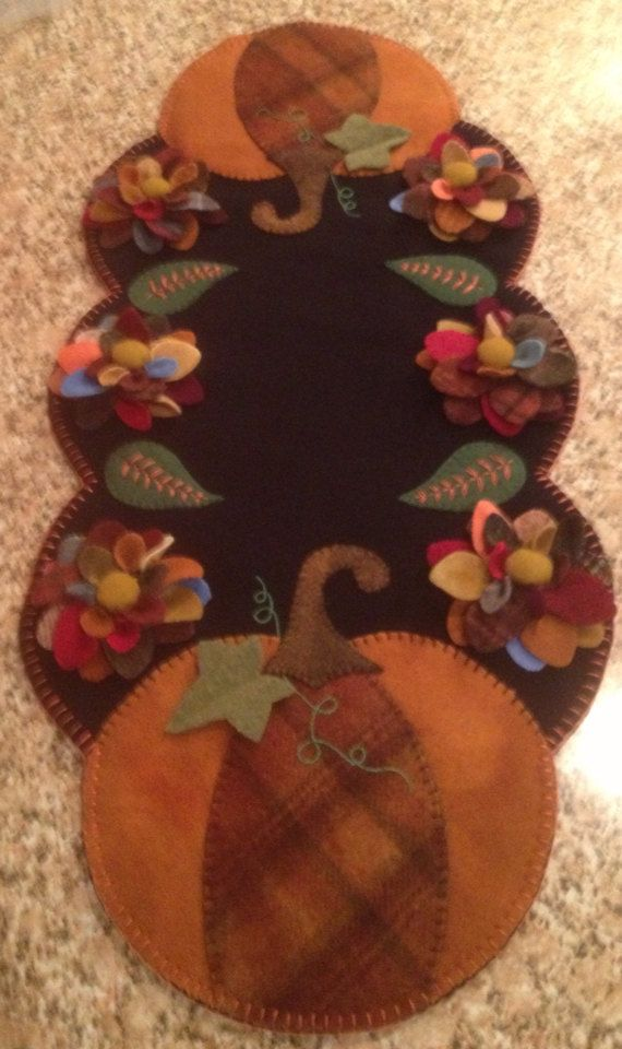 Primitive Wool Penny Rug Pumpkins and Mums Fall by MaggysPennies, $85.00