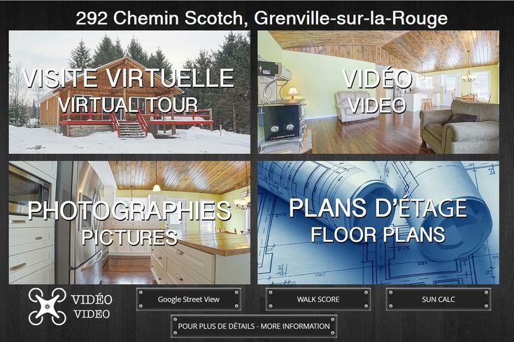 ACREAGE FOR SALE!!!  292 Ch. Scotch Grenville-sur-la-Rouge  SEE DRONE VIDEO AND 3D VIRTUAL TOUR HERE:  http://www.tourdimensional.com/292cheminscotch  Private domain, almost 34 acres with 3+2 bedroom bungalow with 2 bathrooms, semi-finished basement & wrap around balcony. Outstanding 40x28x25 dream garage for every hobby. 10 minutes to shopping & conveniences of Hawkesbury. Your very own piece of paradise. Possibility to acquire an additional 25 acres of pristine adjoining land with maple…