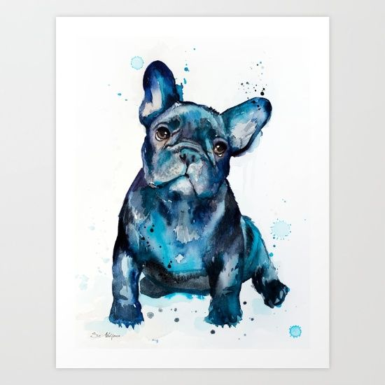 French Bulldog watercolor painting print, French Bulldog art,animal watercolor,French Bulldog painting, French Bulldog illustration, dog art
