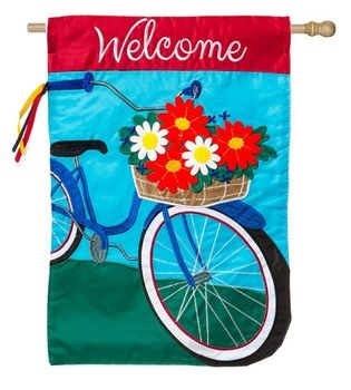 Summertime Bicycle 2 Sided Applique Banner Flag