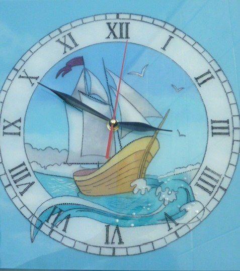 Часы, роспись, точечная роспись