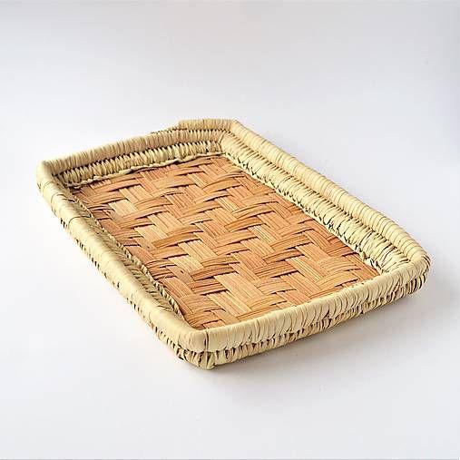 Obdĺžnikový pletený podnos z palmových listov