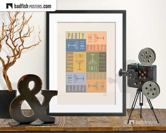 Party Time Print Cheers Trendy Pastel Colors Modern Graphic