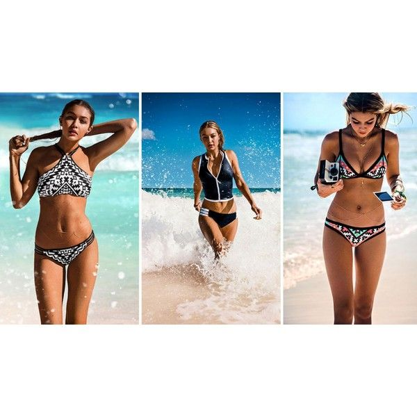 Gigi Hadid named the new face of Australian swimwear brand Seafolly ❤ liked on Polyvore featuring swimwear, seafolly and seafolly swimwear