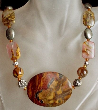 Tiger Glass cw Pyrite Stones Necklace c/w Tiger Eye by camexinc, $40.00