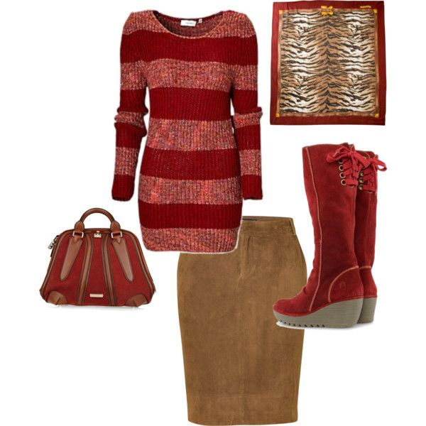 A fashion look from December 2012 featuring Ralph Lauren skirts, Fly LONDON ankle booties and Burberry handbags. Browse and shop related looks.