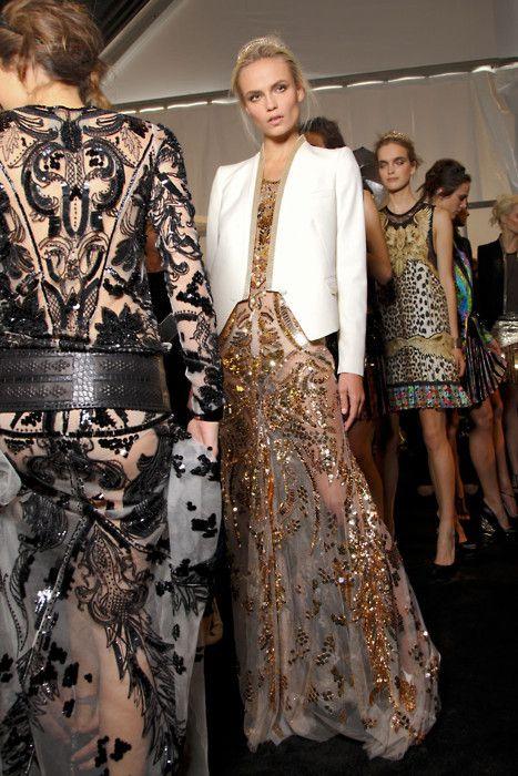 dress: Fashion Couture, White Blazers, Fashion Style Inspiration, White Jackets, Maxis Dresses, High Fashion, Roberto Cavalli, Backstage, Haute Couture
