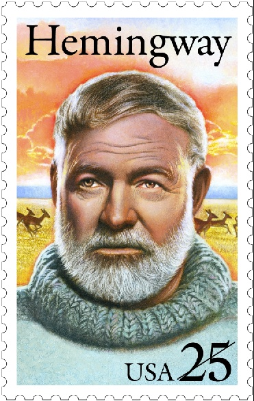 Ernest Hemingway, The bull fighting and hunting-loving novelist and short story writer, appeared on a stamp in 1989 as part of the Literary Arts series.