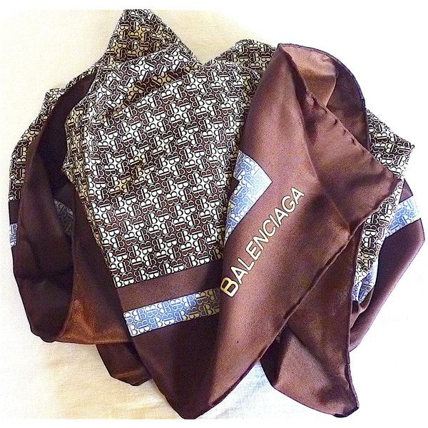 Balenciaga, Foulard Soie Vintage 70's, Grand Carré Soie Marron Glacé... (€95) ❤ liked on Polyvore featuring accessories, scarves, blue and white scarves, balenciaga, brown shawl, pure silk scarves and silk scarves