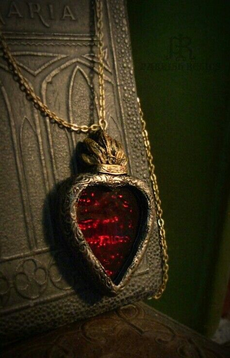 Stained red glass sacred heart necklace