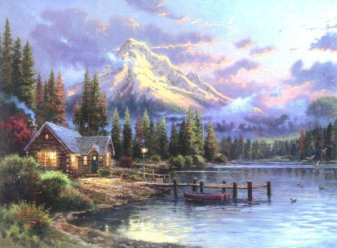 Thomas Kinkade Loon Lake Cross Stitch Pattern***L@@K*** ~~**I WILL SEND WORLD-WIDE Free**~~