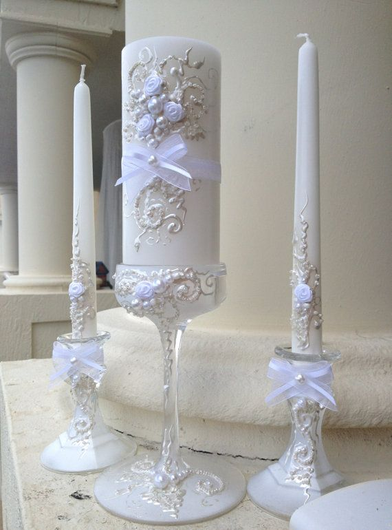beautiful wedding unity candle set 3 candles and 3 glass candleholders in white and off white color wedding reception unity ceremony