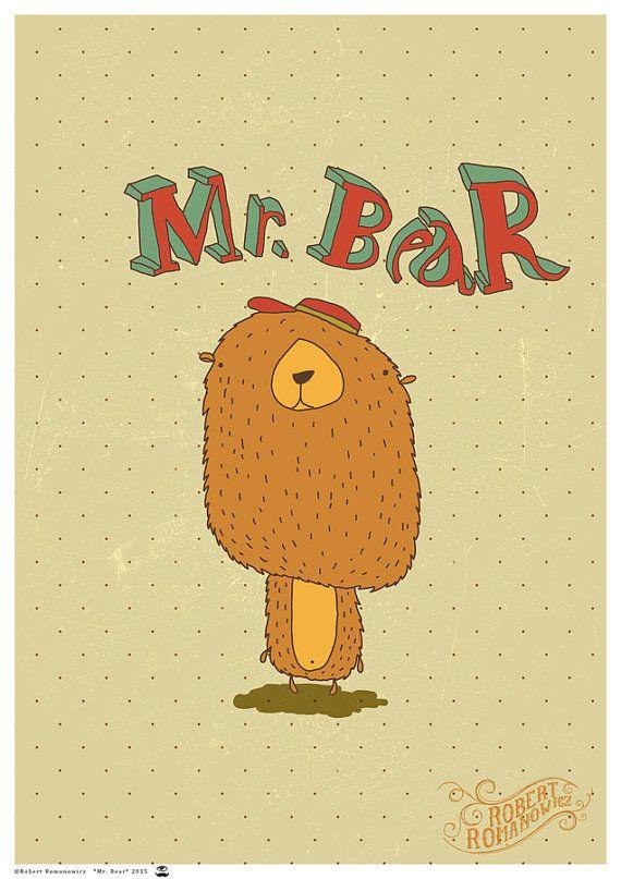 Mr. Bear  art print by ArtRobertRomanowicz on Etsy