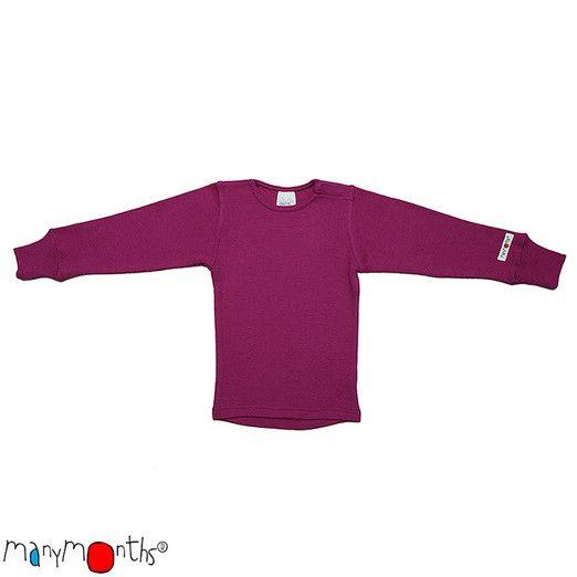 KoKoBello - barnkläder, leksaker & bärsjalar - Mörkrosa tröja i obehandlad ull med flexibel storlek från Manymonths - Violet Lotus