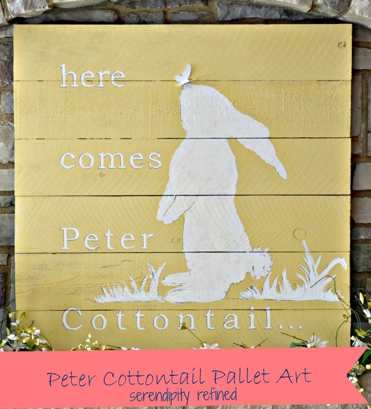 """Reclaimed Wood/Palette """"Peter Cottontail""""  #Spring #Easter Art Tutorial by Serendipity Refined - BONUS #Printable for designing your own!!"""