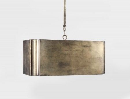 The Maris Chandelier features a gold leaf box shade which gives the rectangular light chandelier a glamorous eye catching spark of color.    13H x 24W x 12D
