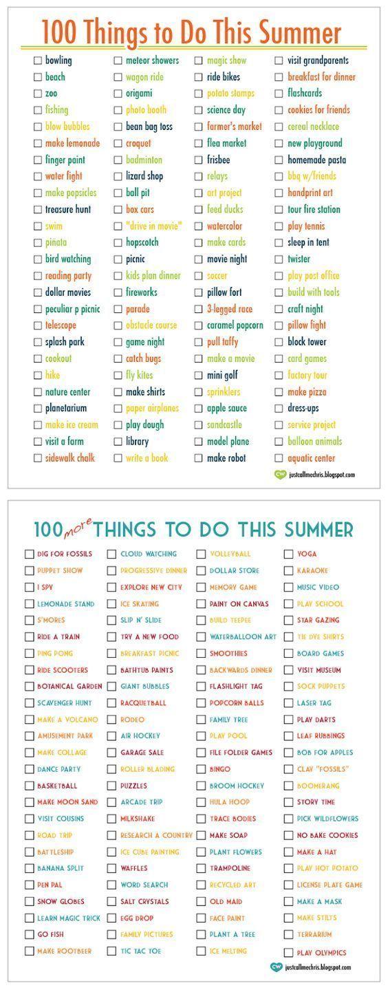 100 Aktivitäten in diesem Sommer … 100 Weitere Aktivitäten in diesem Sommer. Tolle Ideen