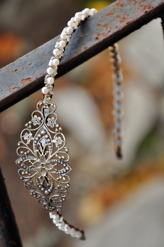 Reserved for Kate.  Antique Finished Filigree Wedding Headband.  One of a Kind.  H0082.