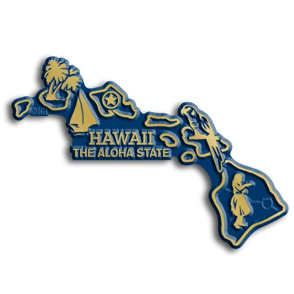 "Our Hawaii Map Magnet measures approximately 3 square inches and has a thickness of 0.1"""". This Classic Hawaii Map Magnet is perfect for any refrigerator or metal surface and makes a great gift or sou"