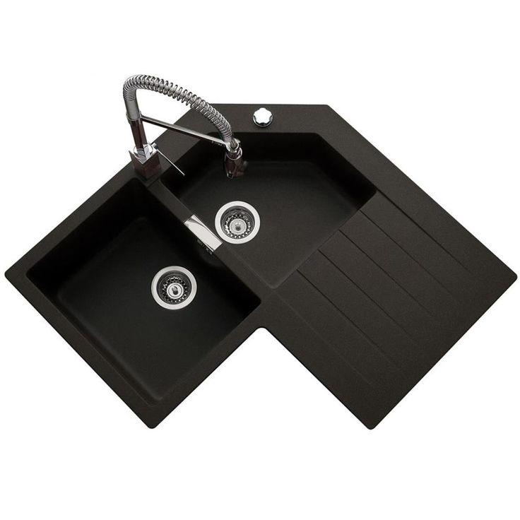 Les éviers d´angles ont la part belle dans la cuisine. Design moderne et fonctionnalité optimisée, c´est un réel atout en cuisine ! Optez pour cet évier d´angle en granit noir. Il est livré avec un...