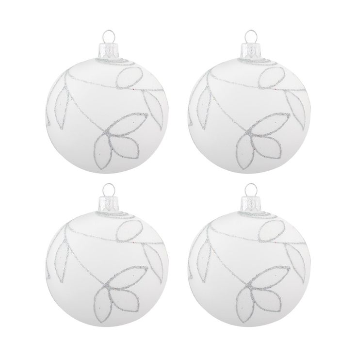 Very luxurious and decorative glass bauble, matt transparent leafy branches with silver glitter | It's all about Christmas
