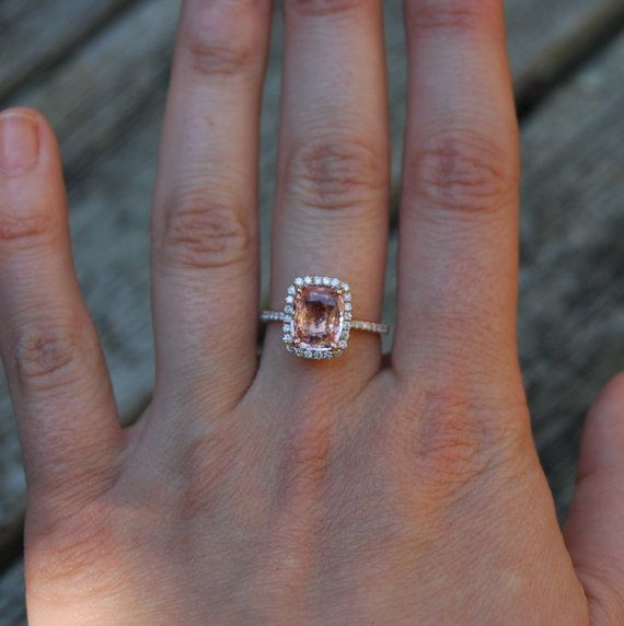 Perzik Sapphire Ring Rose goud verlovingsring door EidelPrecious