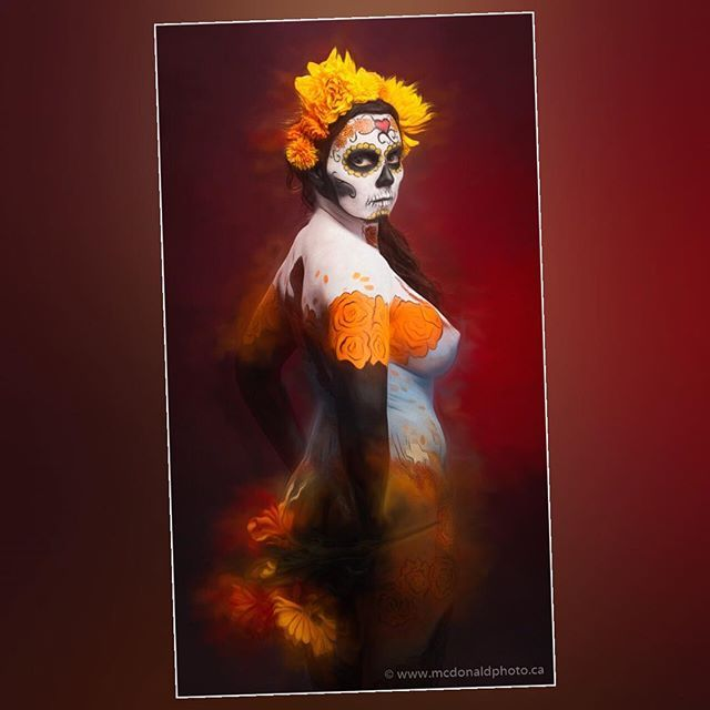 Day of the dead body painting by @bodyartbyrayna & @makeupartistrybykyra at our NE Calgary Studio.  Were booking Valentines sessions now. Booking info: www.mcdonaldphoto.ca (link in bio)