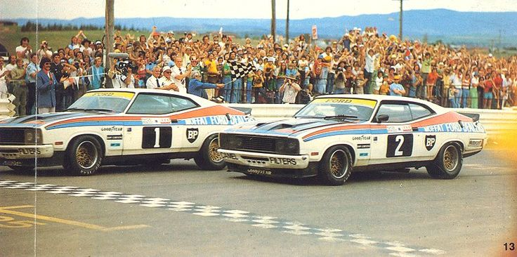 1977 - one of the great Bathurst 1000 races. Alan Moffat (partnered with Jacky Ickx of all people) leads Colin Bond across the line for a Ford 1-2. During the race team boss Moffat offered Bond a drive alongside him for 1978. This came in handy when the leader's car hit trouble and Bond did the courteous thing and refused to pass for the win. He later said he regretted being such a good employee!