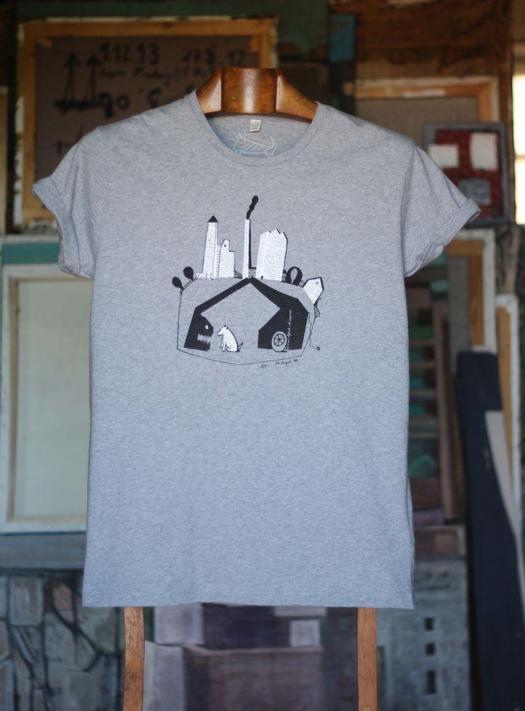 Grua come perro gris hombre Camiseta con mangas enrolladas, 100% algodón orgánico. 30,00€