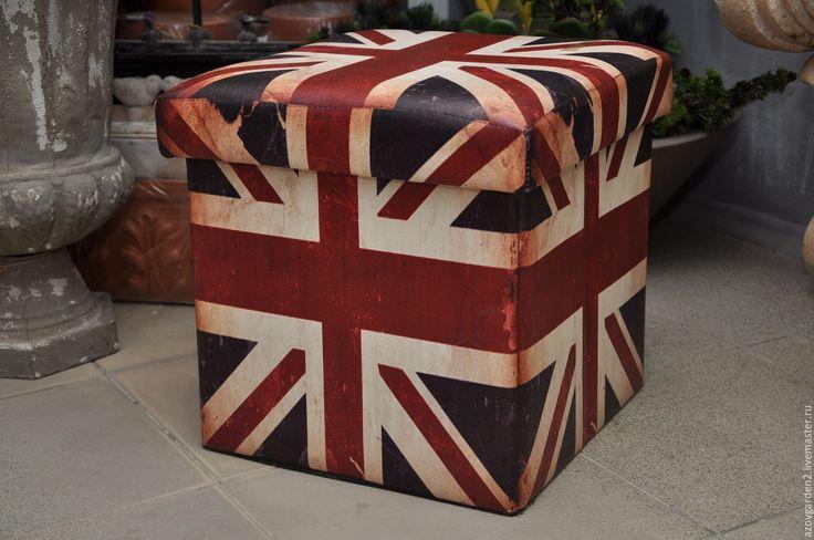 Купить Пуф с английским флагом, состаренный, потертый - комбинированный, винтажный стиль, подставка для цветов, постамент