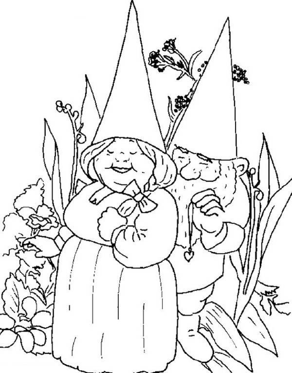 david the gnome david the gnome give his wife beautiful necklace coloring pages - Gnome Coloring Pages 2