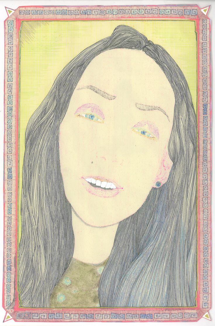 """A woman"" by Ari Usui. 2013, ballpoint pens/ pastels"
