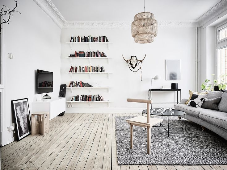 Simple Decor in the Old Scandinavian Apartment                              …