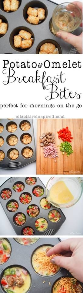 Potato & Omelet Breakfast Bites  ~Frisky   http://www.ellaclaireinspired.com/2013/09/delicious-omelet-and-potato-breakfast.html