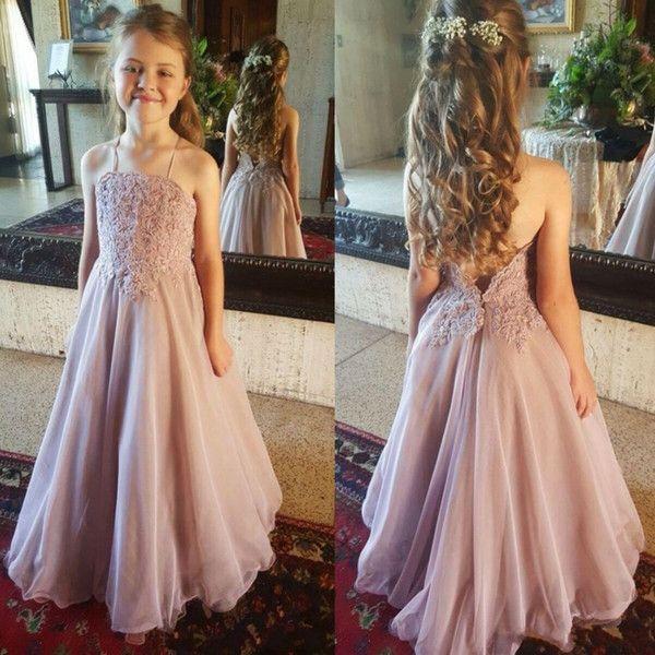 2019 Vintage Flower Girl Vestidos para bodas Blush Pink por encargo Princesa Tutu con lentejuelas Appliqued Lace Bow Niños Primera Comunión