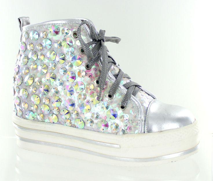 helen s silver bling high top platform sneakers