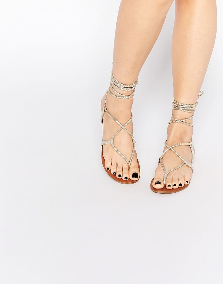 Image 1 of Steve Madden Werkit Gold Tie Up Sandals