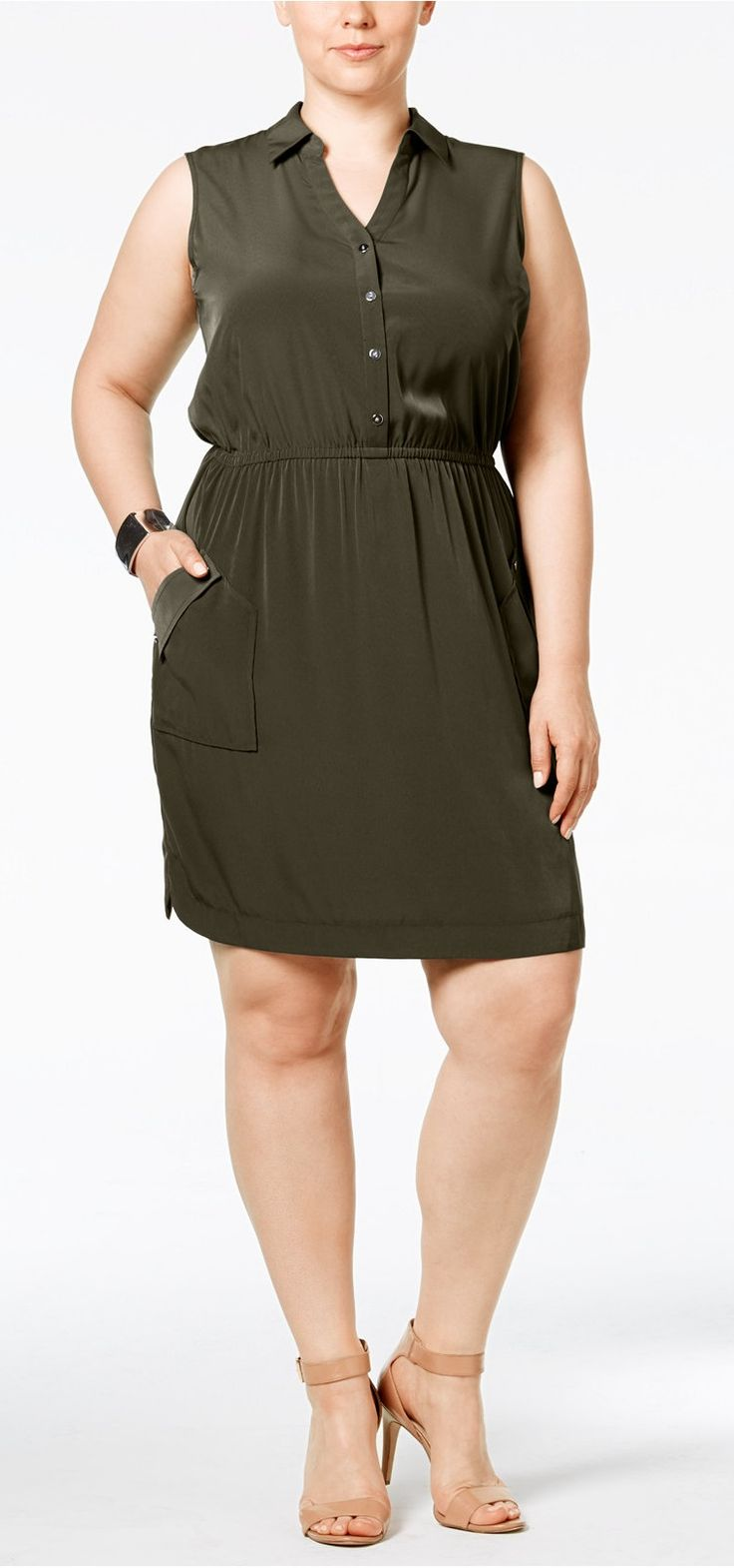 Plus Size Gathered-Waist Shirtdress