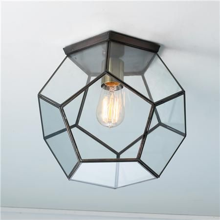 Clear Glass Prism Pentagon Ceiling Light