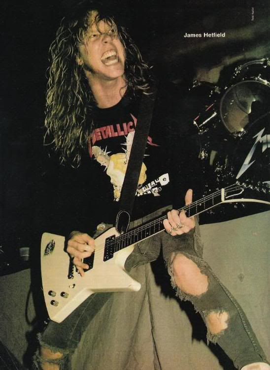 James in 1986...switched to the classic Gibson Explorer loaded with the EMG 81 and 85...