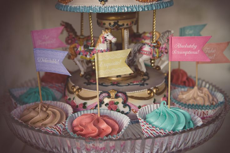 French Patisserie Christening Event @Am Villa in Ekali by De Plan V. Glass platter with cup cakes and carousel!