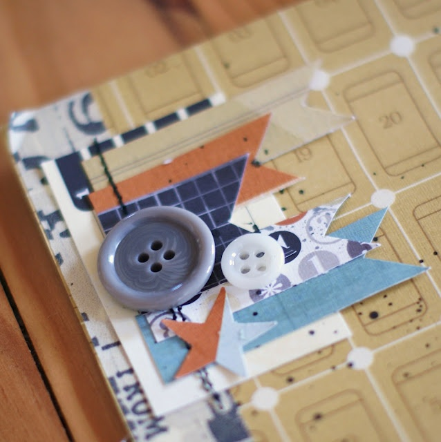 Love the incorporation of sewing the embellishments on a page, plus the buttons on top makes this a really cute idea.