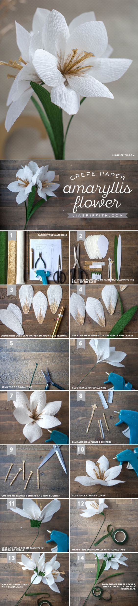 DIY Crepe Paper Amaryllis - www.LiaGriffith.com - #holidays #holidaydecor #diyholiday #crepepaper#crepepaperflower #paperflowers
