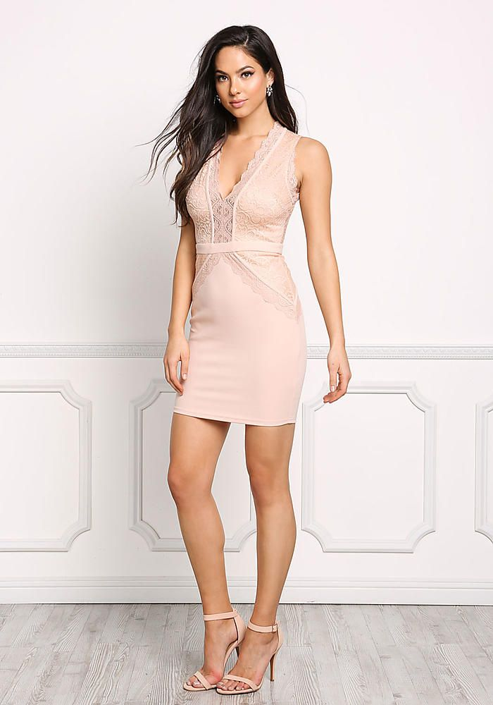 junior clothing nude plunge lace bodycon dress
