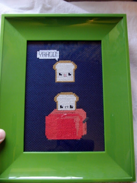 Cross stitched toast.   I almost want to learn a new craft.Crosses Stitches, Stitches Toast