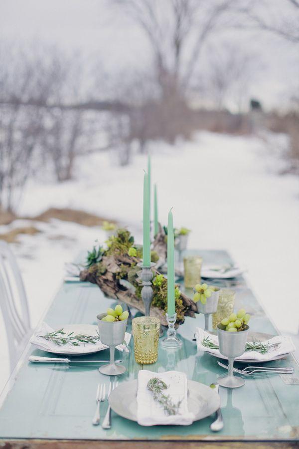 Winter blue wedding via Ruffled.