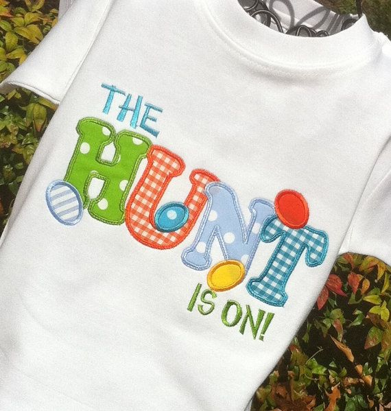 Boys Appliqued  EASTER HUNT  Shirt by lilshabebe on Etsy, $20.95