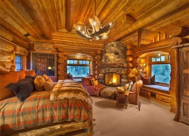 I absolutely love the window seats flanking the fireplace