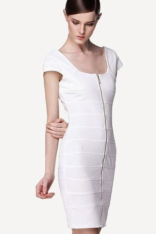 #bandagedress white Bandage Robe Blanche A Encolure Carree Avant Arriere Pleine Longueur Robe De Zip €46.46- Modebuy.com