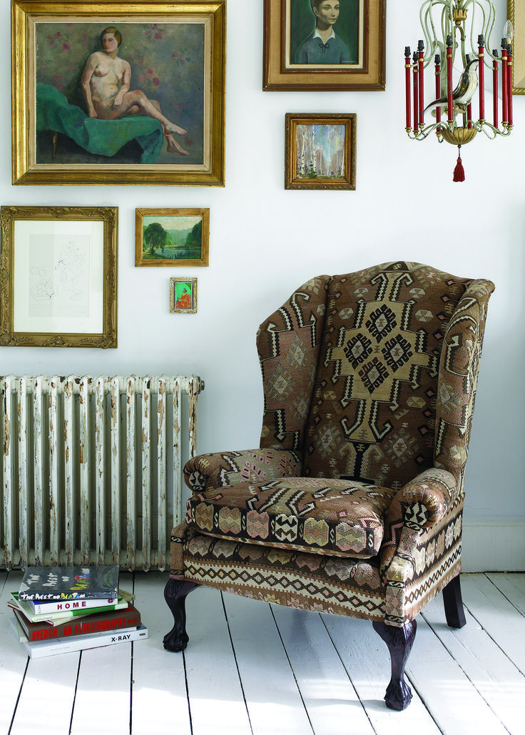 George Smith Low Scroll Wing Arm Chair Upholstered In A Unique Kilim Rug # Kilim #